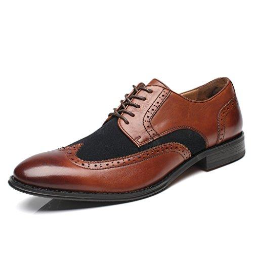 La Milano Para Hombre Oxfords Classic Modern Captoe Redondo Zapatos De Dos Tonos Doubo-2-marrón / Azul Marino