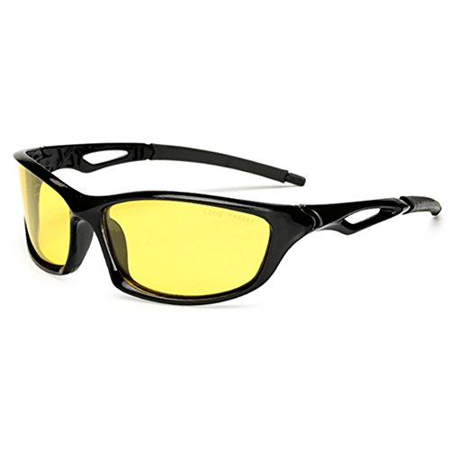 Night Vsion Sunglasses for Cycling Running Fishing Driving Men and Women Yellow Lens(Black, - Glass Sunglass Lenses