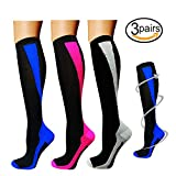 3/5 Pairs Knee High Graduated Compression Socks For Women and Men - 15-20mmHg (Small/Medium, Assort9)
