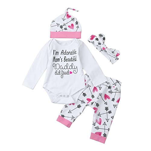 """Price comparison product image WuyiMC Baby Girls Clothes Long Sleeve """"I'm Adorable. Mom's Beautiful"""" Romper Outfit Pants Set +Hat+Headband (3-6 Months, 80CM,  White)"""