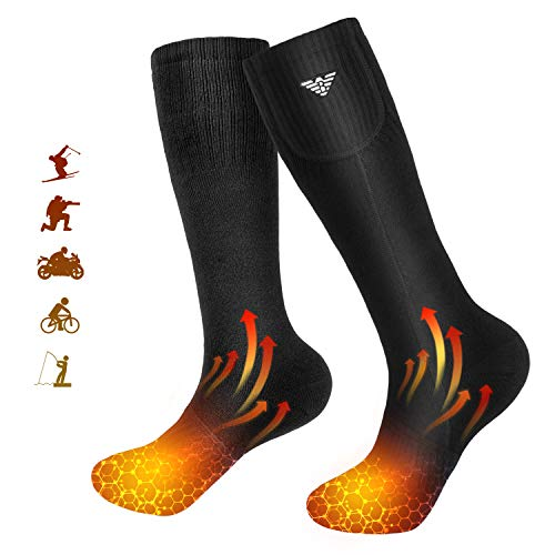 Beheizte Socken für Männer und Frauen,Elektrische Beheizte Socken,Batteriebetriebene Socken für Camping/Angeln/Radfahren/Motorradfahren/Skifahren