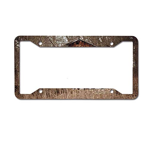 ASUIframeNJK Old Cottage Log Among Trees Garden in Woods Custom Aluminum License Plate Tag for Auto CarsCover for Women/Men12 x 6 Inch 4 Holes