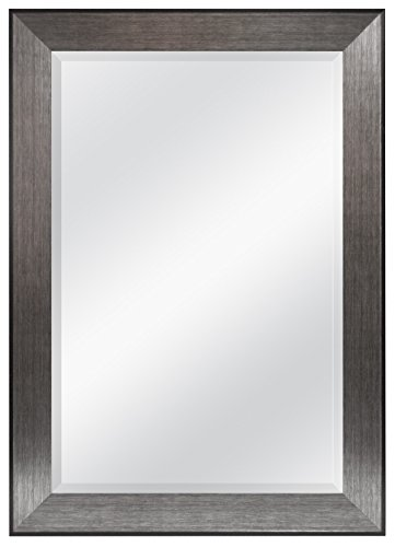 MCS 24x36 Inch Wedge Rectangular Wall Mirror, 30x42 Inch Overall Size, Brushed -