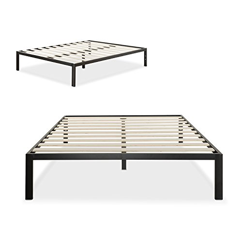zinus modern studio 14 inch platform 1500 metal bed frame mattress foundation no boxspring needed wooden slat support black queen - Platform Bed Frame For Memory Foam Mattress