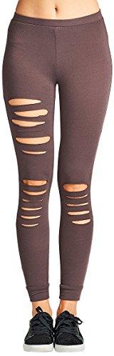 Dusty Violet - ToBeInStyle Women's Asymmetrical Distressed Leggings - Dusty Violet - Small