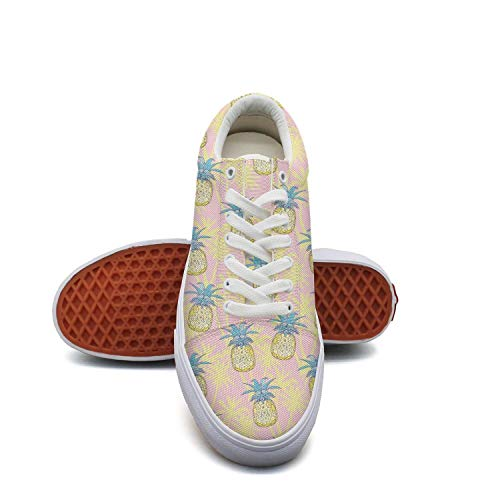 (Mortimer Women's Canvas Fashion Sneakers Pineapple Palm Tree Pink Background Skate Shoe Lace Up Casual Shoes )