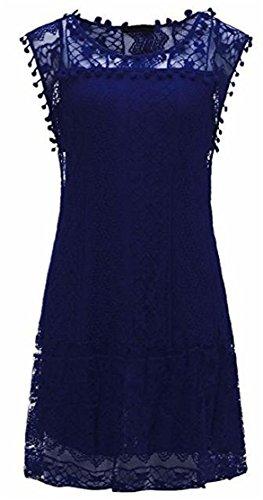Midi Sundress Lace Jewelry Sleeveless Womens Blue Hollow Cromoncent Dress Swing Elegant 6q07w