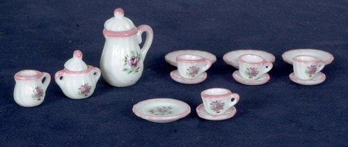 Dollhouse Miniature 17-Pc. Pretty Pink China Set (Aztec Creamer)