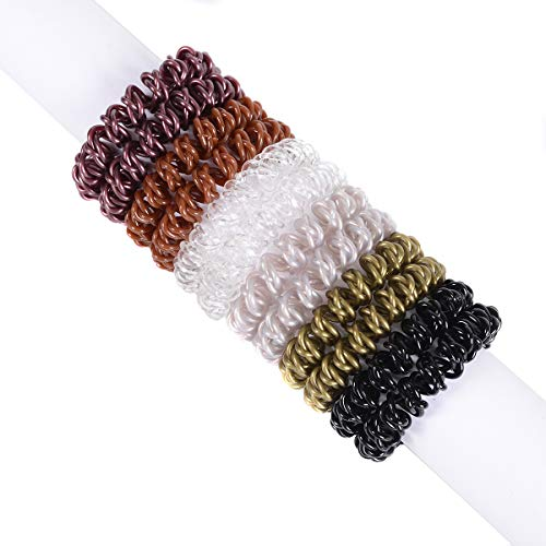Spiral Hair Ties 12pcs No Crease Elastic Ponytail Holders Hair Ring Phone Cord Traceless Hair Rubber Bands Suitable for All Hair Types 6 Colors,2pcs/Color