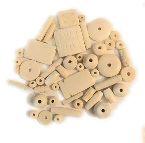 (50-60 Natural (Cream) Colored Buffalo Bone Beads Size 6-5-35mm, Variety of Shapes, Some Etched, Native American Art Craft Jewelry Making)