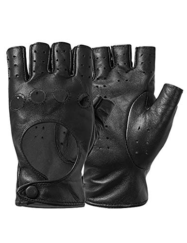 Half Finger Driving Gloves, Classic Italian Genuine Leather Fingerless Fitness Motorcycle Cycling Gloves for Women Black