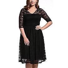 Dilanni Women'sPlus Size Lace Floral Half Sleeves Hollow Cocktail Dress