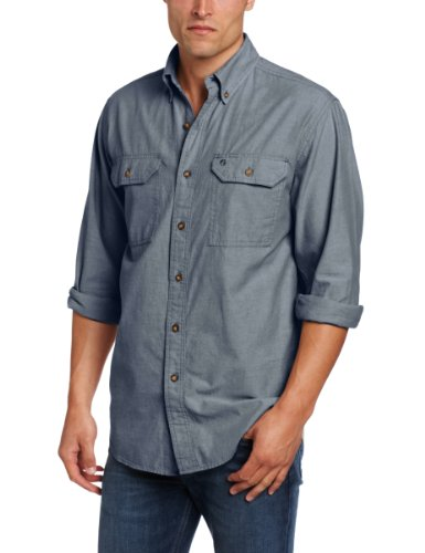Carhartt Men's Long Sleeve Lightweight Button Front Relaxed Fit Shirt,Denim Blue Chambray,XXX-Large Tall