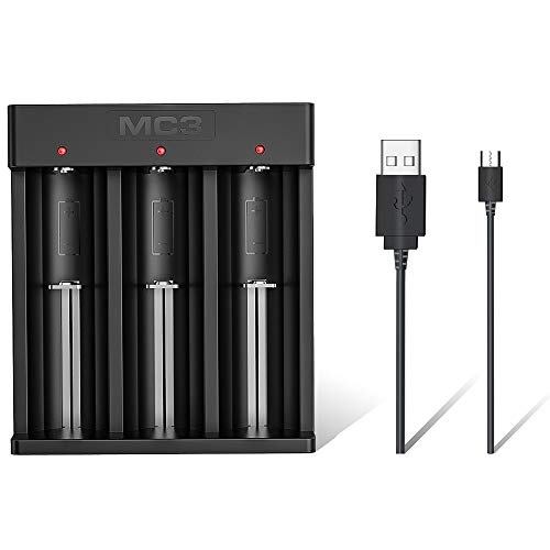 18650 Battery Charger XTAR MC3 Micro USB Li-ion Charger for 3 X Lithium-Ion Rechargeable Battery 3.6V 3.7V Li-Ion IMR INR ICR 18500 18700 20700 21700 22650 25500 26650 with USB Cable for Flashlight