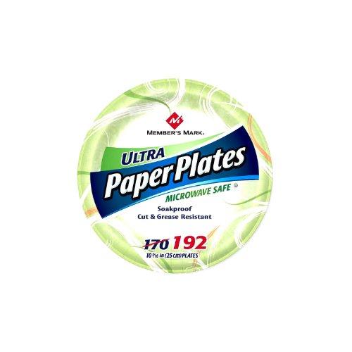 192 Member - Member's Mark Ultra Paper Plate, 10-1/16 Inch, 192 Count
