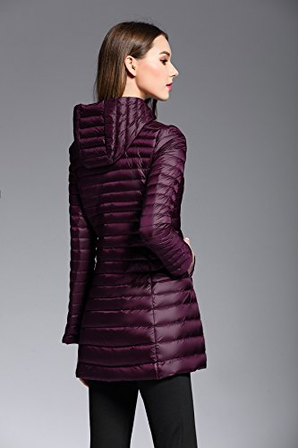 Hoodie Yeokou Jacket Purple Coat Packable Puffer Women's Down Quilted weight Long 1qXSPfqr