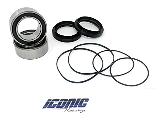 Iconic Racing Rear Wheel Axle Carrier Bearing and Seal Upgrade Kit Compatible With 06-16 Yamaha YFZ450 YFM700R Raptor 700
