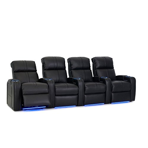 Octane Seating Flash HR Home Theater Seats - Black Bonded Leather - Power Recline - Row of 4 ()