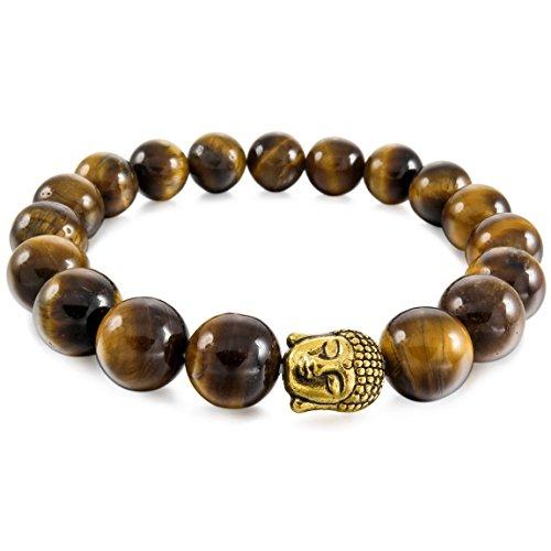 INBLUE Men,Women's 10mm Alloy Energy Bracelet Link Wrist Brown Buddha Mala Bead ()