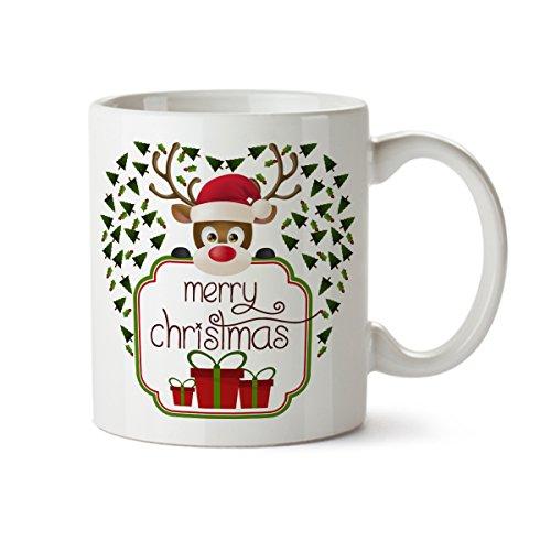 Merry Christmas Deer and Gift Boxes Porcelain Coffee Mug -11 oz- Great Holiday Gifts (Halloween Blu Ray Box Set Australia)