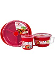 Décor Microwave Lunch Microsafe Pack with Noodle Bowl Segment Plate and Soup Mug