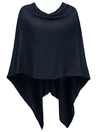 (DJT Womens Solid Knit Short Asymmetric Wrap Poncho Topper #A07 Navy, One Size )