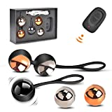 Kegel Balls Exercise Weight, Waterproof Silicone Ben Wa Balls Kit with Rechargeable Remote