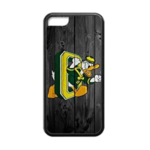 Generic Custom Extraordinary Best Design NCAA University of Oregon Ducks Team Logo Plastic and TPU Black and White Case Cover for iPhone5C