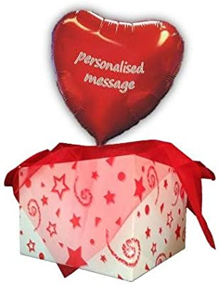 18 PERSONALISED RED HEART FOIL HELIUM BALLOON IN A BOX