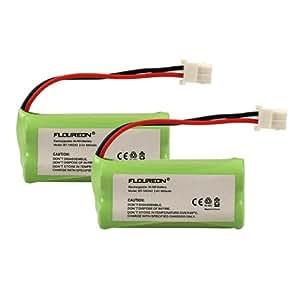 2 Packs FLOUREON Cordless Home Phone Battery Pack for VTech BT166342 BT266342 BT183342 BT283342 2.4V 800mAh Ni-MH Fruit Green