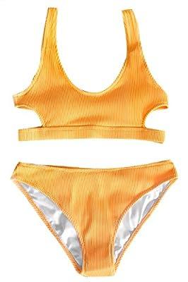 CUPSHE Fashion Women's Solid Color Tank Low Waisted Bikini Set Beach Swimwear Bathing Suit Orange