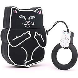 Cute Airpods Case, Airpods 2 Case, Cool Funny 3D Cartoon Animals Black Crazy Middle Finger Cat Protección completa Funda de carga de silicona suave a prueba de golpes con llavero para Airpods 1 y 2
