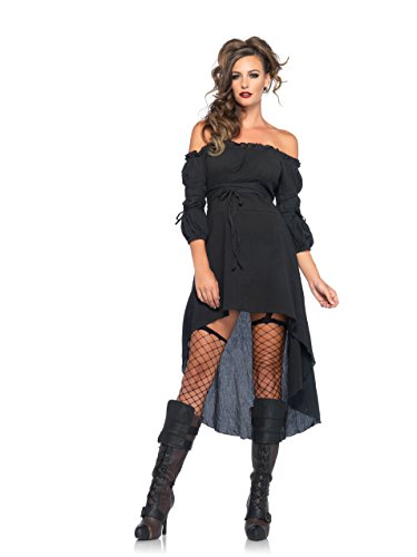 Leg Avenue Women's High Low Peasant Dress Costume, Black, Medium/Large (Costumes With A Black Dress)