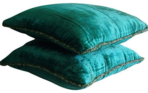 Royal Peacock Green Throw Pillows Cover, Solid Color Bead Cord Pillows Cover, 16