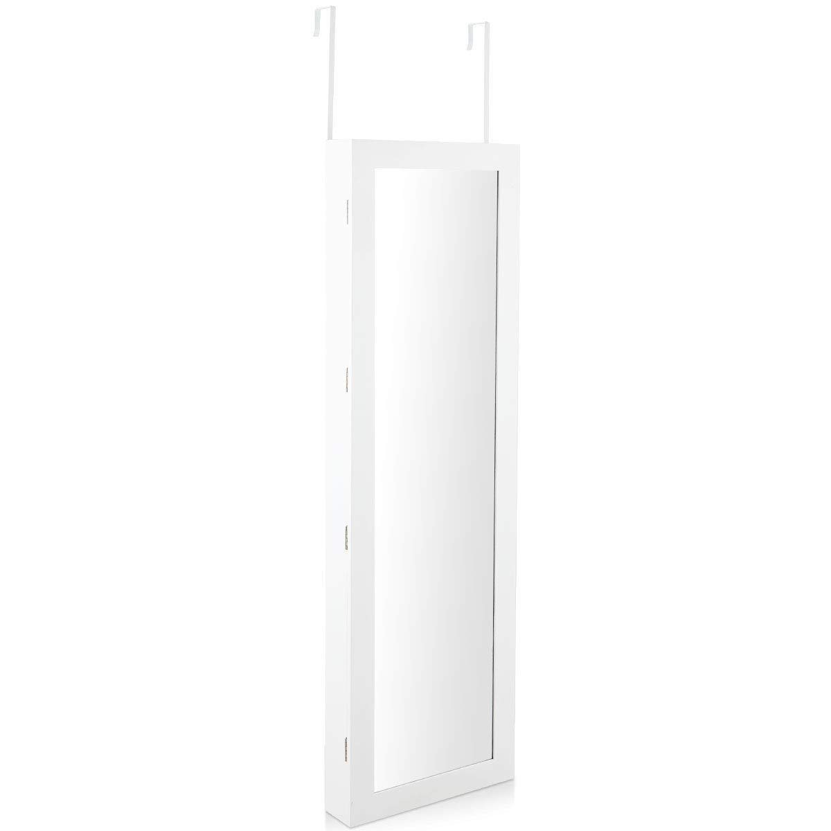 LordBee White New Wall Mounted Lockable Mirror Jewelry Cabinet with LED Light Full Length Furniture Home Bedroom Living Room Entryway Sturdy and Durable