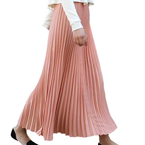 Women's Classic High Waist Pleated A-Line Maxi Skirt Casual Elastic Waist Accordion Long Skirts (Free Size, Hot Pink)