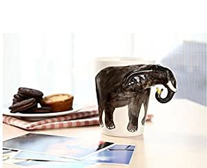 Bettli Hand-painted Ceramic Cups, Elephant Style£¬brown