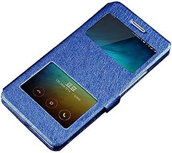 Deesos Xiaomi Mi6 Cover Flip Slim Skrzynki Pokrywa Podwójne okno Widok Stand Funkcja Magnetyczne zamknięcie Premium PU Leather Case dla Xiaomi 6 Blue