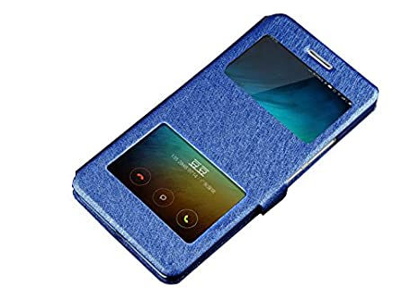 Deesos Xiaomi Mi6 Cover Flip Slim Case Cover Double Window View Stand Function Magnetic Closure Premium PU Leather Case for Xiaomi 6 Blue