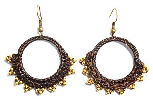 [Bijoux de Ja Handmade Mini Brass Beads Crochet Drop Dangling Earrings] (Homemade Elephant Costume Ears)