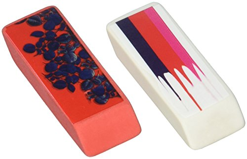 Rowley Stripes - Cynthia Rowley Wedge Eraser, Stripe and Red with Blue Leaves, 2 Per Pack (26896)