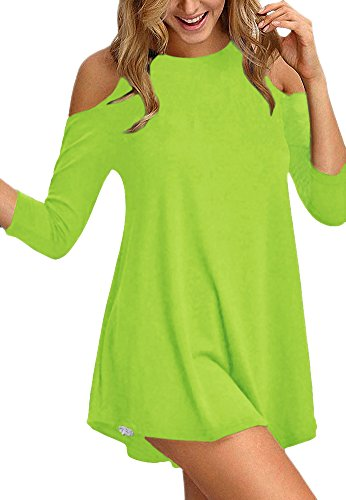 Afibi Womens Cold Shoulder Half Sleeve Swing Tunic Tops for Leggings (X-Large, Candy Green)