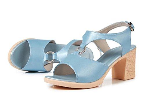 Sandalias para Mujer de Tacones Altos de Verano Zapatos de Tacón Bloque Comodidad Punta Abierta Hebilla Zapatos al Aire Libre para Damas 35-40 Azul