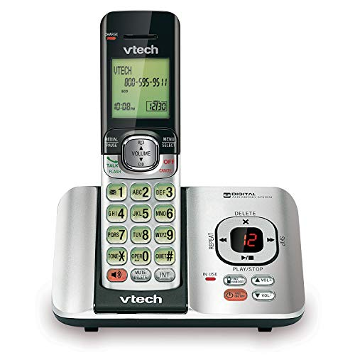 VTech CS6529 DECT 6.0 Phone Answering System with Caller ID/Call Waiting, 1 Cordless Handset, Silver/Black