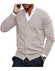 Gemijacka Gebreid vest voor heren, V-hals, kraagloos, cardigan, gebreid hemd, jas, licht, overgangsjas, meerdere kleuren