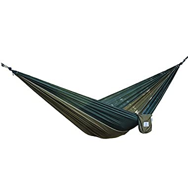 OuterEQ Portable Nylon Fabric Travel Camping Hammock For Double Two Person Army/Olive
