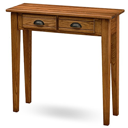Leick Bin Pull Two Drawer Hall Console Table, Candle Glow - Mission Style Console Table