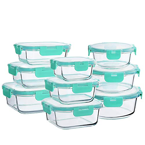 Bayco Glass Food Storage Containers with Lids, [18 Piece] Glass Meal Prep Containers, Airtight Glass Lunch Bento Boxes…