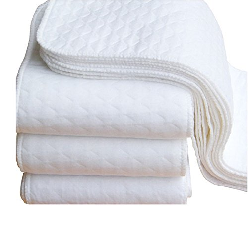 Misaky 5pcs Infant White Ecological Cotton Baby Cloth Diaper Washable Nappy (5 PCS, White)