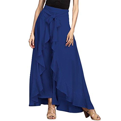 Fendue 1 Taille Haute Mode Plaine Pantalon Bleu Jambe Femme Jupe Cravate Long Volant Large FO8UcHXp